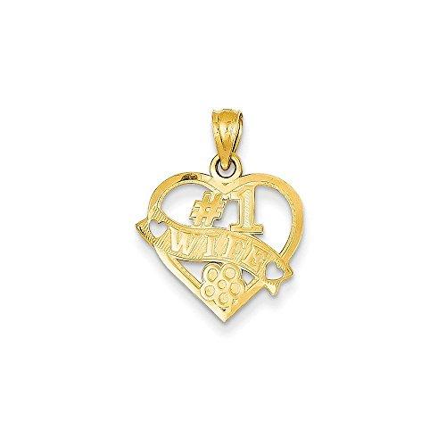 14k Gold #1 Wife Heart Pendant (0.83 in x 0.63 in)