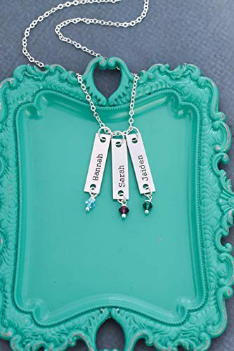 0.25 Pendant New (Childrens Name Bar Necklace – DII QQQ - Mom Gift - 1 x .25 Inch - Custom Birthstone - New Mom Birthday Wife Short Tag – Fast 1 Day Shipping)