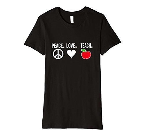 Womens Teacher Gift Peace Love Teach Shirt Elementary High School Medium (Black Elementary School)