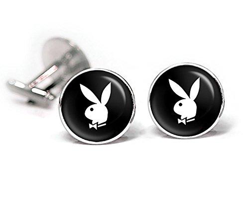 Playboy Cufflinks, Playboy Bunny Tie Clip, Playboy Wedding Jewelry Cuff Links Gift]()