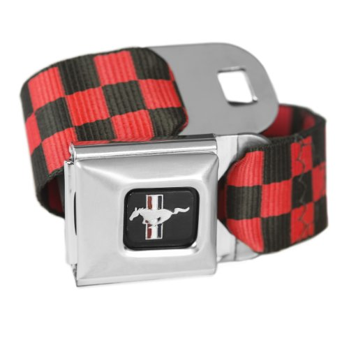 Belt Belt Mustang Ford Seat (Checkered Red Ford Mustang Seatbelt Buckle Fashion Belt - Officially Licensed)