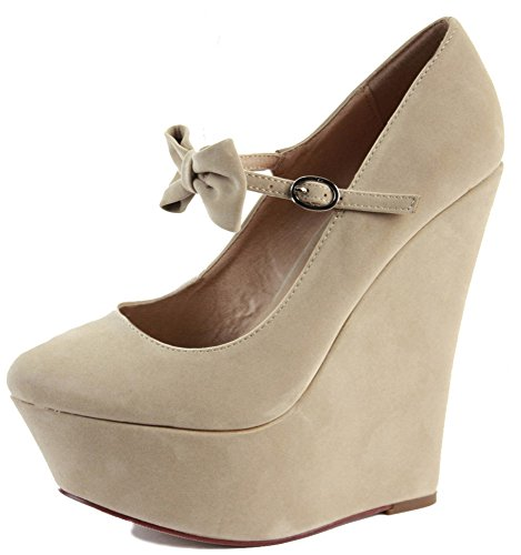 HEELS 3 SHOES PARTY Suede PLATFORM WEDGE SANDALS SIZE BOW 8 LADIES WEDDING BRIDAL BRIDESMAID WOMENS Light HIGH Cream w1S4qtO