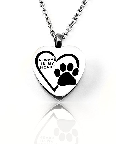 Always In My Heart Pet Dog Cat Cremation Ashes Remembrance Urn Pendant Necklace Jewelry Filling Kit included (Chime Dog Tag Wind)