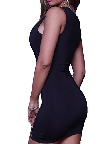 Astage Women`s Sexy Robes Clubwear Moulante Midi / Robes Paillette Profond Col V Sans Manches Noir