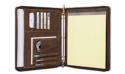 [Custom] Professional Padfolio Case 3 Ring Binder Portfolio, Business Document Organizer Tablet Holder Folder Case, Zippered Closure, Gift for Women & Men, ()
