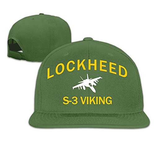Womens Lockheed S-3 Viking Embroidery Cotton Adjustable Cool Snapback Hip Hop Hat Baseball Cap ForestGreen ()