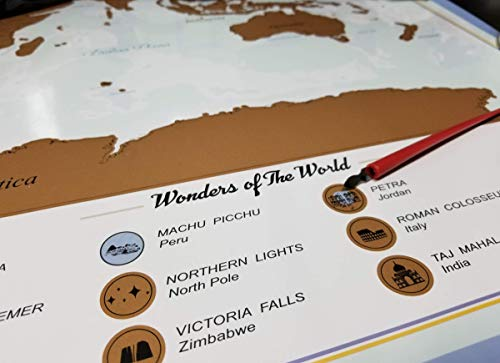 XL Scratch Off Map of The World – Bucket List Features | Wonders of The World | Detailed US States & International Cities | Excellent Wanderlust Themed Travel Gift by Olahs Pandora Photo #2