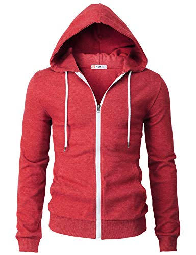 Ribbed Trim Fit T-shirt - H2H Mens Casual Basic Long Sleeve Zip Up Hoodie Jacket HEATHERRED US M/Asia L (CMOHOL048)