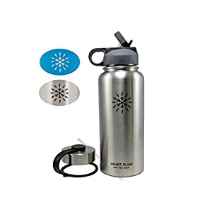Smart Flask Stainless Steel Water Bottle, 32 Oz., Vacuum Insulated, Includes Leakproof Metal Lid, and convenient Straw Lid (Stainless Steel)