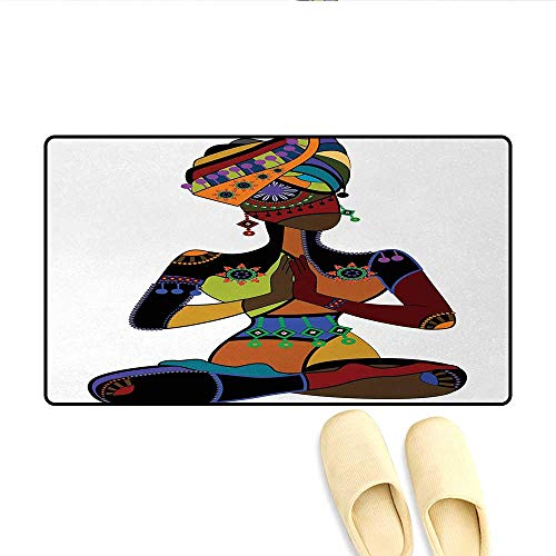 Bath Mat,Woman Figure in Ethnic Style Costume Praying Culture Religion Enlightenment Grace,Door Mats for Inside,Multicolor,Size:16