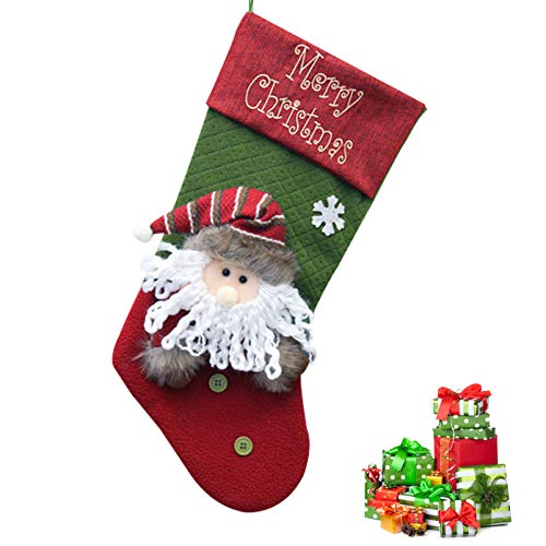 EGOO&YAMEE Plush 3D Applique Style Felt Christmas Stockings, Detailed Designs, Embroidered Edges, Hanging Loops, Includes Santa,(Green) ()
