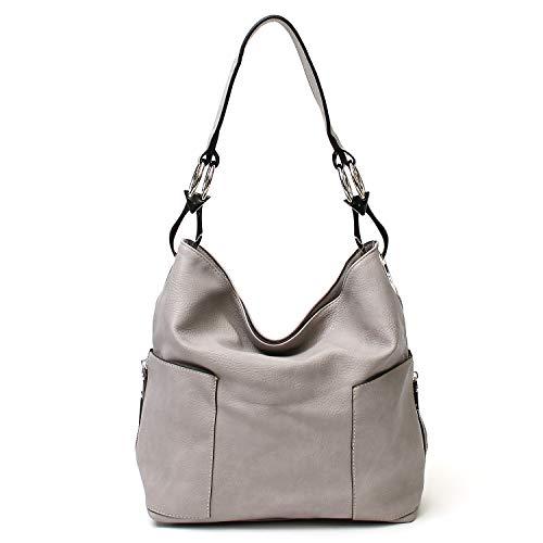 Americana Bucket Style Hobo Shoulder Bag with Big Snap Hook Hardware and Side Zipper Pocket ()