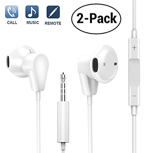 Fourcase Earphones Earbuds Headphones Headset Wired Microphone Volume Control Stereo Compatible iPhone iPod Samsung Galaxy All 3.5mm Android Smartphones 2 Pack (White)