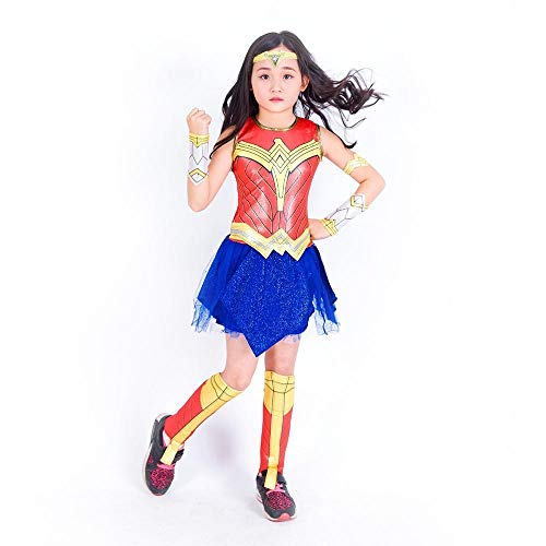Girls Wonder Woman Costume Party Dress Up - Justice League Avengers - Halloween Super Hero Costume Fierce Female Superhero -
