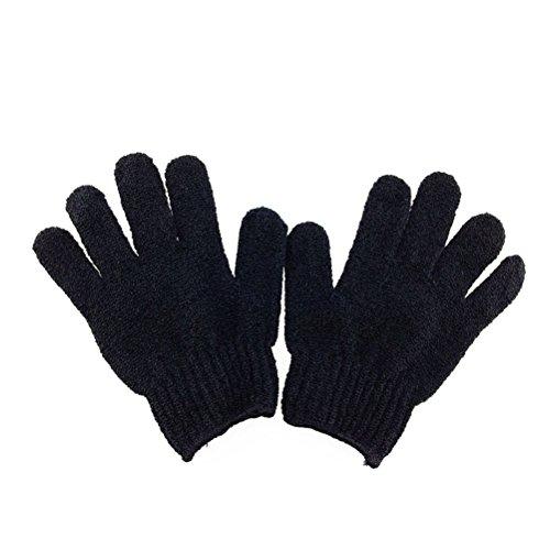 ROSENICE Bath Gloves Scrubber Body Shower Sponge Exfoliating Gloves 1 Pair(Black)