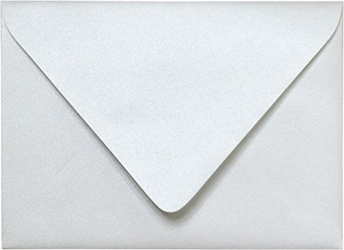 - A-7 Pearl White Metallic Euro Flap Envelopes (5 1/4