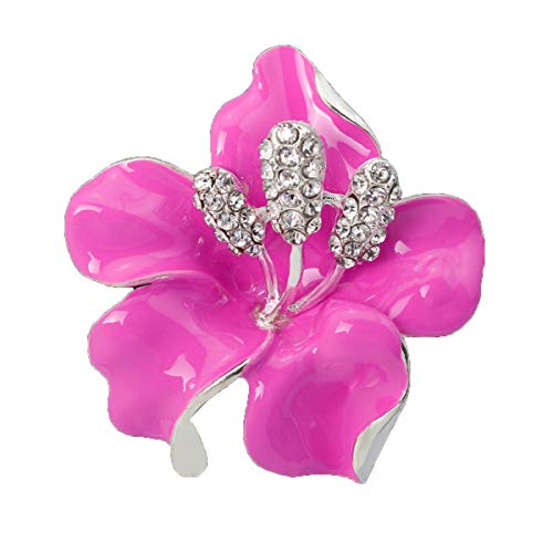 Lily Flower Brooch - seven wolves Wedding Breastpin Lily Flower Brooch Pin for Women Brides Created Crystal Brooch Pink