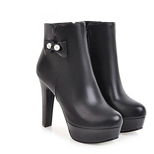 ZQ@QX Herbst und Winter runden Kopf bold und stilvolle Seite kurze Reißverschluss große Werften, kurze Seite barrel Stiefel weibliche Stiefel  schwarz f623b0