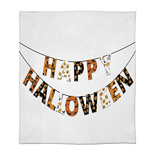 TecBillion Flannel Blanket,Halloween,for Living Room Bedroom Hotel,Size Throw/Twin/Queen/King,Happy Halloween Banner Greetings Pumpkins Skull Cross -