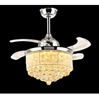 7PM Retractable Ceiling Fans 42 Inch Crystal Invisible Chandelier Fan with Remote Control Dimmable LED Light Warm White, Daylight White, Cool White for Decorate Living Room Dining Room Chrome Finished