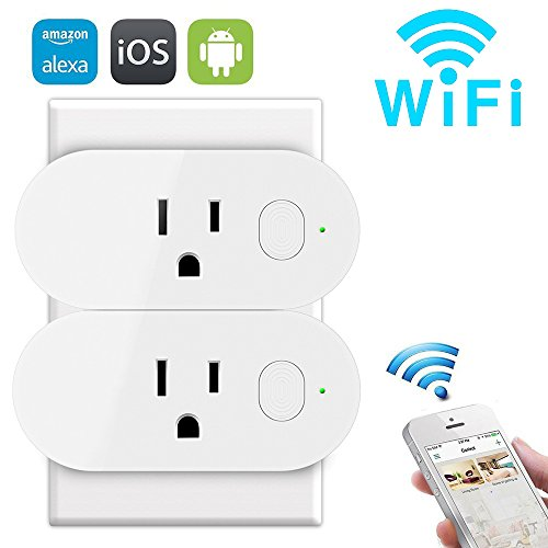 MGO Wireless Mini Wifi Outlet with Timing Function On/Off Light Switch, Remote Control Smart Socket Works with Amazon Alexa Google Assistant, No Hub Required, 16A Output 2 Pack ()