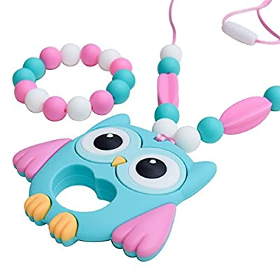 Munchables Chewelry - Aqua Owl Sensory Sensory Chew Necklace & Bracelet (Chewable Sensory Aides for Sensory, Oral Motor, Anxiety, Autism)