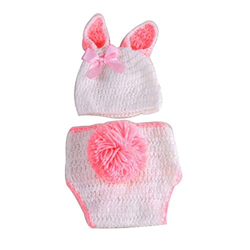 Baby Monkey - Cute Rabbit Style Baby Infant Born Handmade Crochet Beanie Hat Clothes Photograph Props - Decorations Party Party Decorations Baby Photography Prop Newborn Cotton Gown Crochet - Choppers Hat Beanie