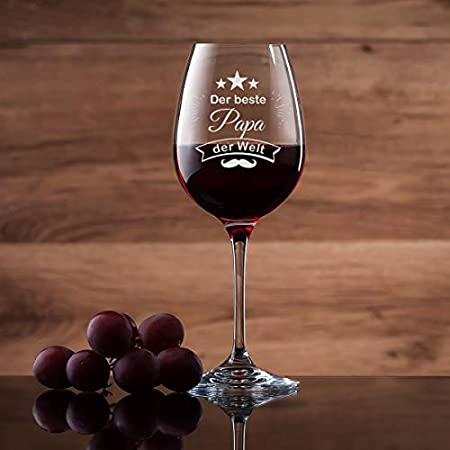 Leonardo - Copa de vino personalizada con grabado – El mejor papá del mundo – Copa de vino tinto 460 ml – Idea de regalo para papá ideal como regalo del día del padre para hombres