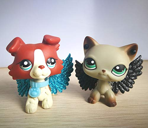 USA Warehouse Hasous LPS Collie 1542 Red Dog LPS Shorthair Cat 391 Grey Blue Eyes Siamese Kitty Kitten with Accessories Wings Action Figure Kids Boys Girls Xmas Gift