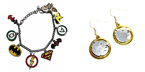 [J&C Family Owned Comic Book Theme The Justice League Bracelet Logo and The Legends of Tomorrow Hawk girl 2-Pack Bracelet and Earring Gift Sets /Gift] (Hawkgirl Cosplay Costume)