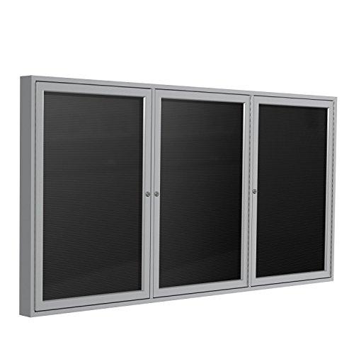 "Ghent 48"" x 72"" 3-Door Outdoor Satin Aluminum Frame Enclosed Vinyl Letter Board, Black"