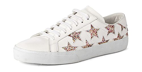 ZXD Glitter Low Top Fashion Sneakers Lace up Round Toe Running Flat Shoes For Daily Life Star Patterns Unisex 8 US