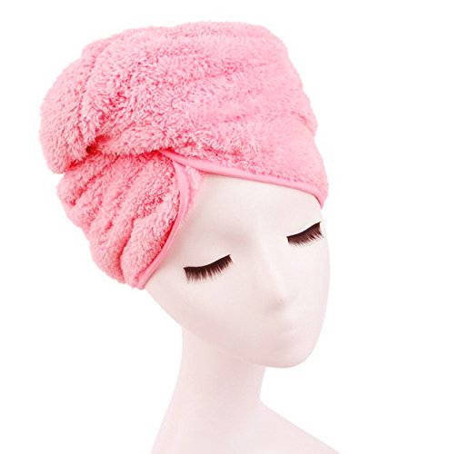 (Shintop Dry Hair Cap Super Absorbent Microfiber Shower Hat for Bath Spa (Pink))