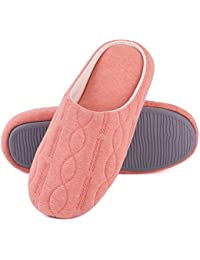 Womens Comfort Quilted Cotton Memory Foam House Slippers with Elegant Embroidery
