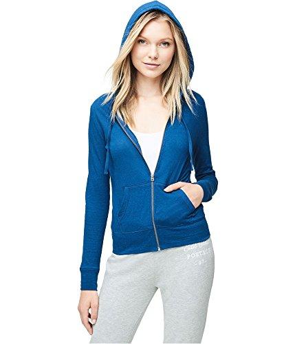 Aeropostale Womens Heathered FZ Hoodie Sweatshirt Blue XL - (Aeropostale Hoodie)
