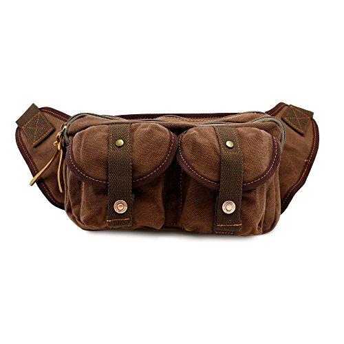 GEARONIC TM Men's Military Canvas Waist Leg Fanny Vintage Travel Waist Hip Pack Messenger Hiking Bag Wallet - Coffee