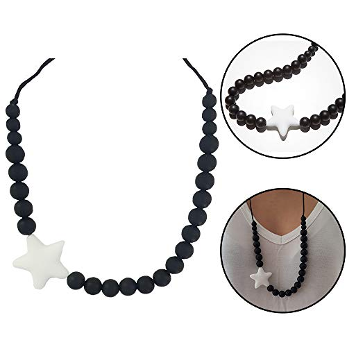 ima-jewelry BPA Free Silicone Teething Necklace for Mom to Wear | Baby Chewbeads Necklace Chew Beads - Safe for Baby | Black