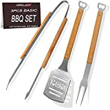 grilljoy 3pcs BBQ Grilling Tools Set- Heavy Duty Stainless Steel BBQ Grilling Accessories with Premium Oak Wooden Non- Slip Handle, Perfect Barbecue Grill Accessories Gifts for Men Women on Birthday