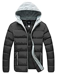 ZSHOW Men's Winter Quilted Jacket Removable Hood Thicken Cotton Outwear