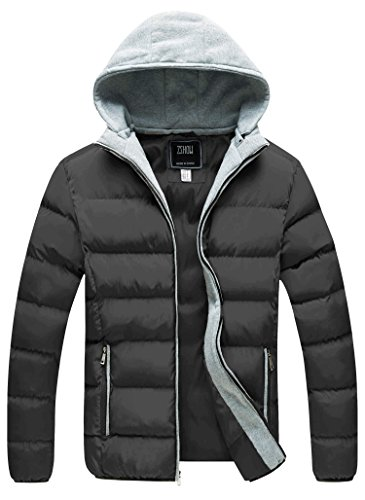 ZSHOW Men's Winter Thicken Removable Hooded Quilted Cotton Jacket(Grey,Large) ()