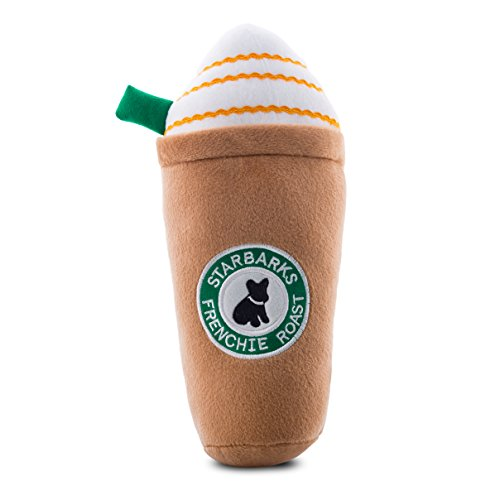 Haute Diggity Dog Squeaky Toys - Starbarks Collection (Starbarks Frenchie Roast with Straw, X-Large)
