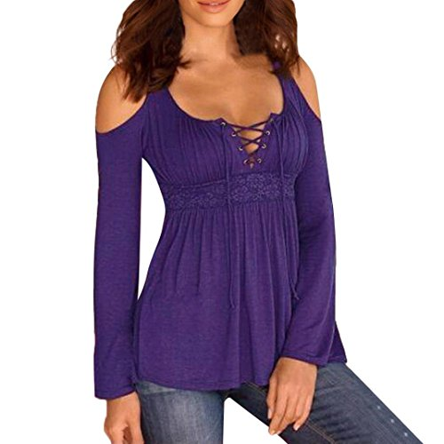 Cut Solid Out Casual (Women Casual Solid Bandages Off Shoulder Cut out Long Sleeve Tops Blouse (US4/L, Purple#))