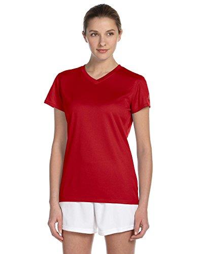 New Balance Ndurance Ladies' Athletic V-Neck T-Shirt, Cherry Red, Medium