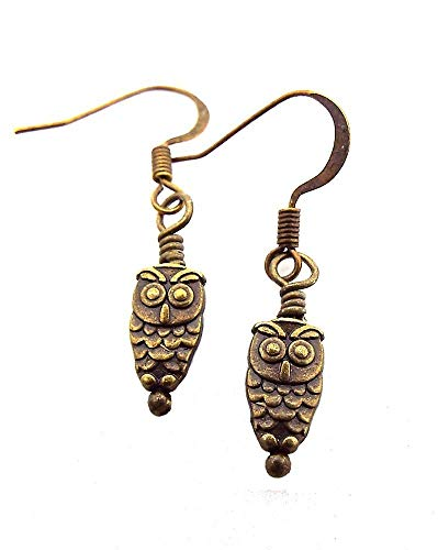 Tiny Antique Brass Toned Owl Drop Earrings