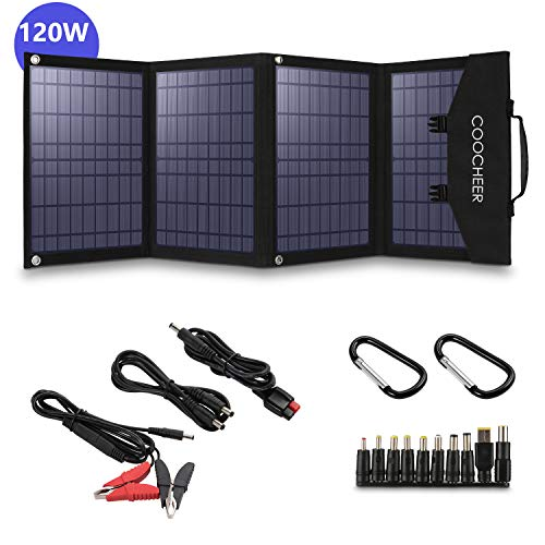 momiloeUS Solar Charger 120W Portable Solar Panel Foldable for Power Station Generator and Laptop Tablet GPS iPhone iPad Camera for Emergency Hurricane Home