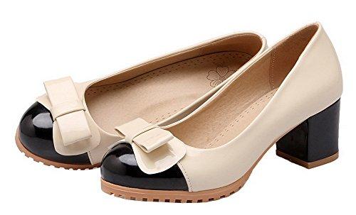 AllhqFashion Womens Patent Leather Round-Toe Assorted Color Pumps-Shoes Black 1aDhi