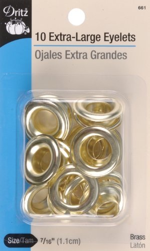 Dritz 661 Extra-Large Eyelets, Brass, 7/16-Inch 10-Count