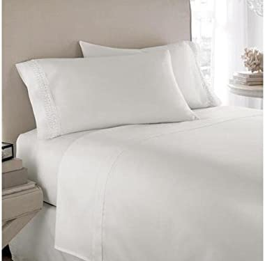 """8/"""" to 15/""""Deep Pocket Scala Bedding 1000 Thread Count Egyptian Cotton White Solid"""