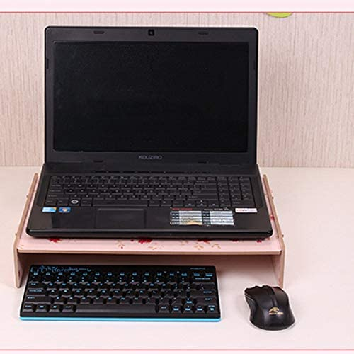 Wood Stand with Keyboard Wiring Slot for Computer Monitor//Laptop Color : Black Black