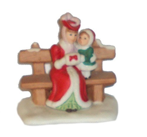 1991 Geo Z Lefton 00215 Colonial Village Carol and Amy Woman and Child on Bench -